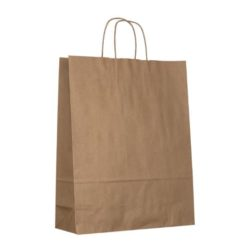 Large smooth natural printed paper bags side view pfn1114