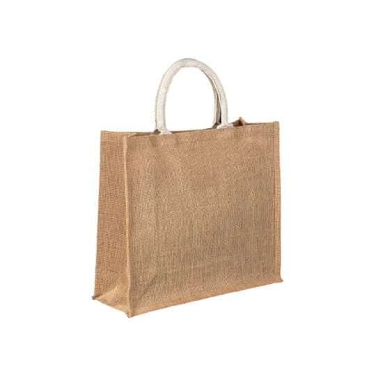 Medium jute promotional shopping bags side view pfn1138