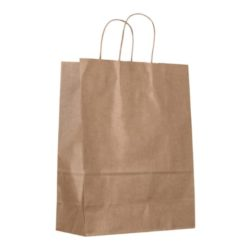 Medium ribbed natural paper bags side view pfn1133