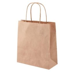 Mini sustainable promotional paper kraft bags in brown side view pfn1177