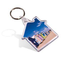 Promotional picto insert house shaped branded keyrings pfn1597