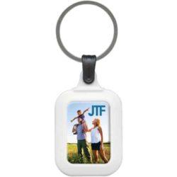 Plastic promotional rectangular coloured keyrings branded pfn1596