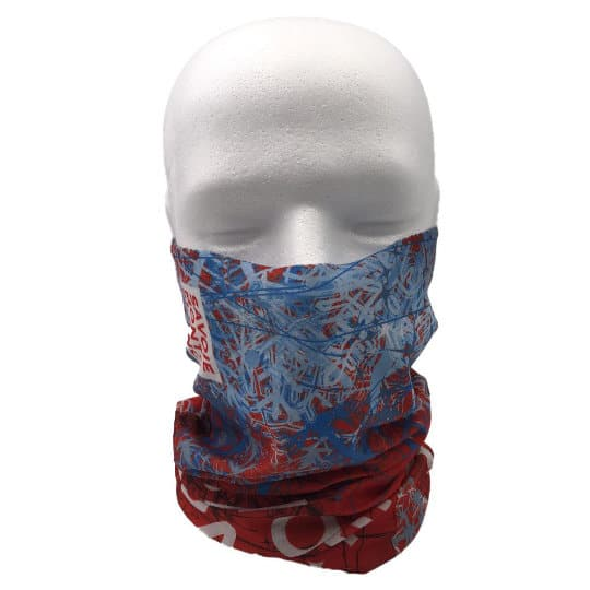 Printed recycled rpet snoods pulled up on model pfn1961