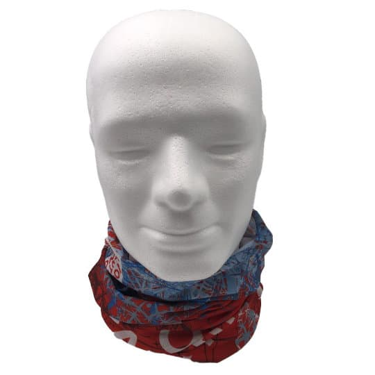 Printed recycled rpet snoods on model pfn1961