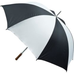 Quantum printed golf umbrellas in white and black pfn1442