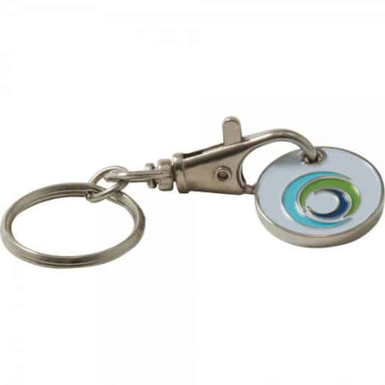 Stamped trolley coin promotional keyrings filled emboss pfn1391