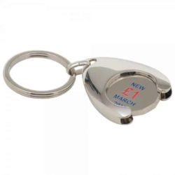 Stamped wishbone trolley coin promotional keyrings pfn1393