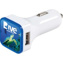 Swift dual promotional USB car chargers printed pfn1583