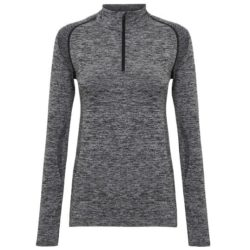 Tri-dri ladies fitted performance promotional zip gym tops front view pfn1822