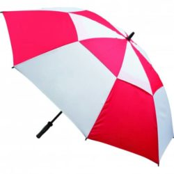Vented printed golf umbrellas in red and white pfn1443