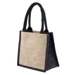 Well tiny printed jute gift bags in black side view pfn1189