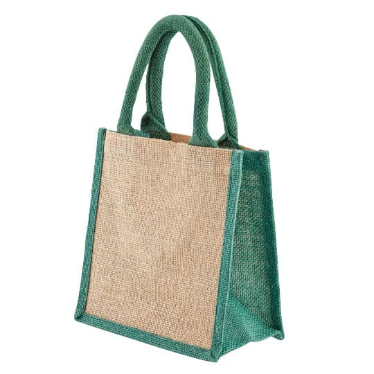 Well tiny printed jute gift bags in green side view pfn1189