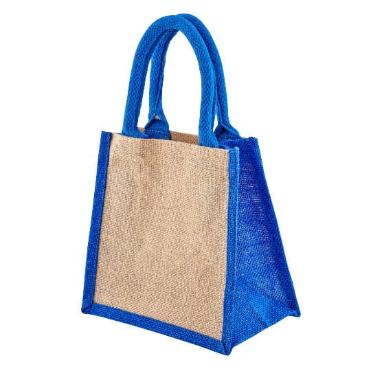 Well tiny printed jute gift bags in blue side view pfn1189