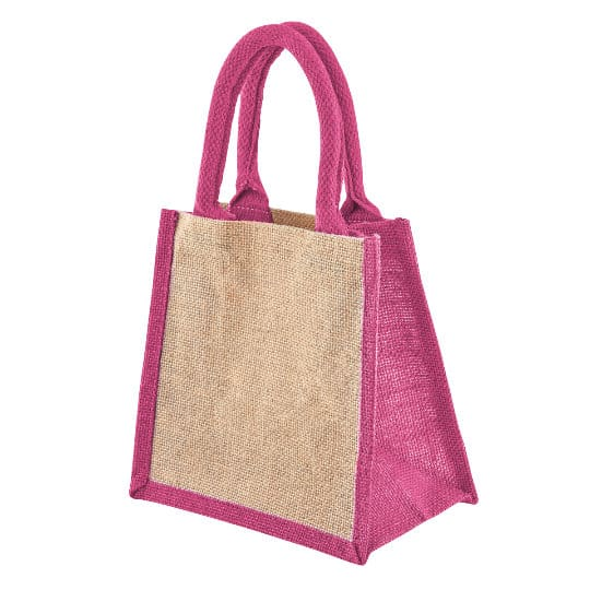 Well tiny printed jute gift bags in pink side view pfn1189