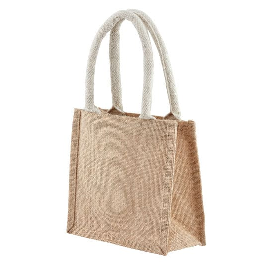 Well tiny printed jute gift bags in natural side view pfn1189