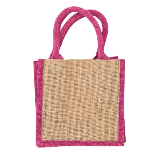 Well tiny printed jute gift bags in pink pfn1189
