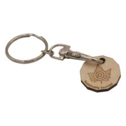 Wooden trolley coin promotional keyrings pfn1397