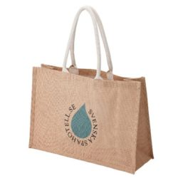 York large printed jute shopping bags showing gusset pfn1191